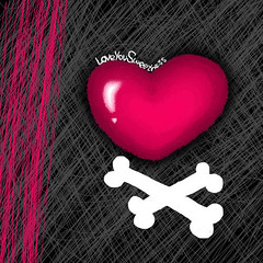 S w e e t n e s s ♥ (✧S) Tags: black photoshop cherry heart drawing kisses adobe bones sweetness hotpink cherrykisses crossedbones almbd3aah al3alyaah elzenp jimbobwerehere