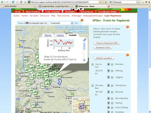 Wanderwege bei GPSies