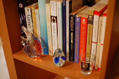 glass fish, glass paperweight, Faulkner shotglass