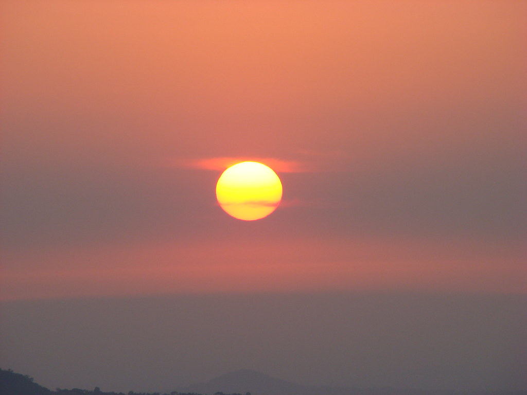 "Sun set from ""amba"" ghat"