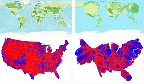 Cargtogram Economic Population and Voting Maps