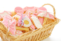 Baby Shower (LynnInSingapore) Tags: pink food baby girl shower bottle cookie basket parasol onsie pacifier rattle
