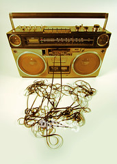 tape spewing boombox (dubassy) Tags: street music broken disco mono cool mess funky boom player retro pump stereo tape sound beat speaker 70s hip boombox eighties cassette seventies audio hifi breaks ghettoblaster spitting musicbox blaster listen tapeplayer spewing beatbox unraveled
