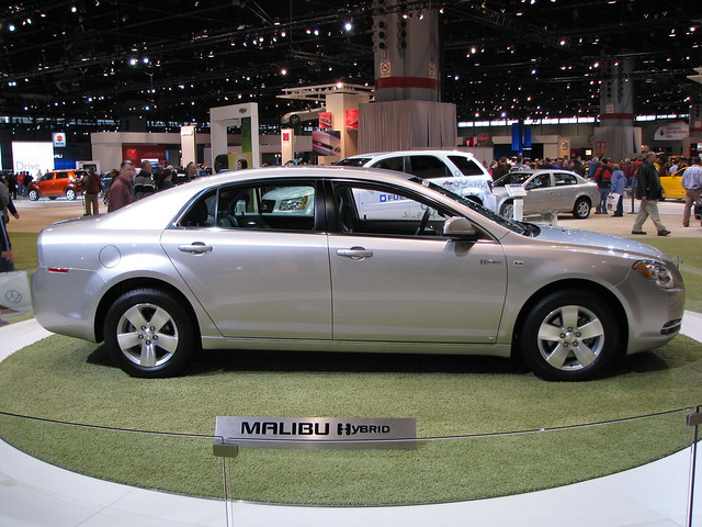 car sedan automobile hybrid chevroletmalibuhybrid 2008chicagoautoshow