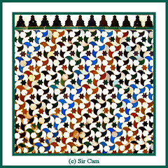 Alhambra art (Sir Cam) Tags: geometric spain patterns andalucia espana alhambra moorish granada moors muslims islamic arabs patiodelosarrayanes courtofthemyrtles micheo sircam mywinners
