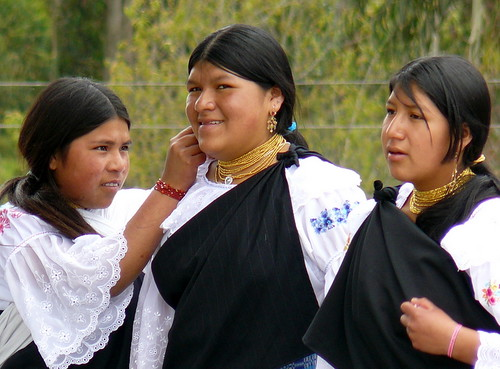 Indigenous girls at the cemetery
