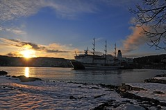 Winter Sunset on Peter Wessel and MIR (underdog9) Tags: winter sunset sun snow water norway nikon europe ship sail mir sailingship larvik d300 18200vr peterwessel nikond300 fullriggedsailingship