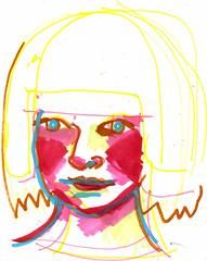 Self Portrait (rina miriam) Tags: selfportrait illustration drawing heads marker rina rinadrescher
