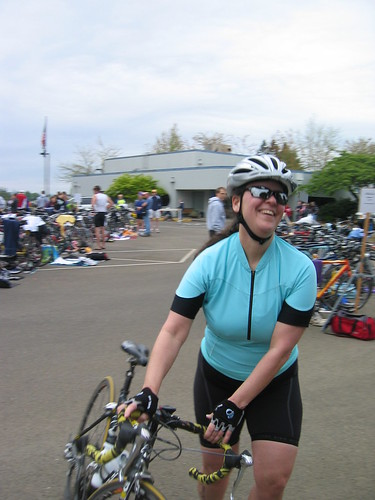 Susan finishing her bike leg
