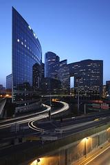Paris La Defense (david.bank (www.david-bank.com)) Tags: city light paris france architecture modern canon twilight traffic dusk trails shift ladefense bluehour tilt offices tse 17mm tourfacto