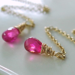 Burma Ruby Wrapped Threaders (livjewellery) Tags: handmade feminine jewelry jewellery precious earrings elegant hotpink semiprecious gemstone goldfilled wirewrapped threaders burmaruby