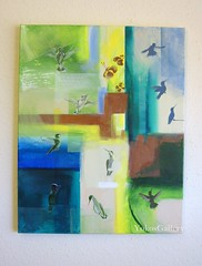 Hummingbirds (YokosGallery) Tags: blue portrait abstract green art birds bronze painting acrylic originalpainting canvas hummingbirds etsy viridian yokosgallery