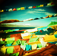 prayer flags over nam tso (Robin G. Ewing) Tags: holga asia tibet namtso top20xpro