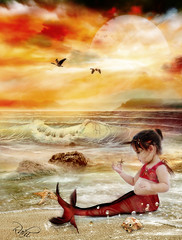 .The little Mermaid. (mylaphotography) Tags: art fairytale graphicart painting digitalart bubbles fantasy mermaid corelpainter corel rahi childphotography jaber superbmasterpiece mylaphotography michiganstudiophotography fairytalephotography