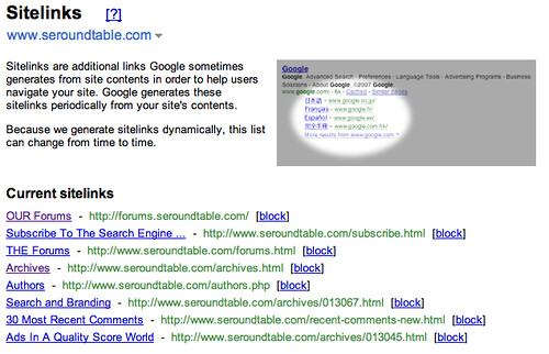 Google Sitelinks Webmaster Tools