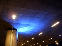 Blue lit pillar