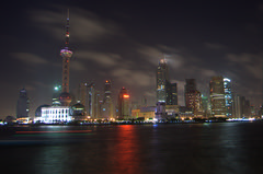 PUDONG NEW AREA (ZIOMAR) Tags: china light skyline night nikon shanghai pudong skyscreapers d40 golddragon