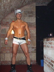 Pure Party @ Citadella (myristica fragrans) Tags: gay man guy pecs cowboy hungary dancers stage budapest hunk scene homo sparkler performers magyar halfnaked garon bulge mec gogoboy meleg