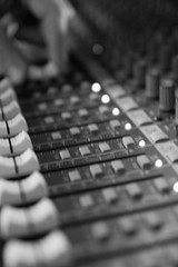 Board Operator (studio79) Tags: blackandwhite 20d canon mix hand angle buttons board sound tamron knobs audio f28 operator shallowdepthoffield sliders