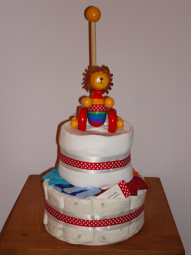Lion Baby Cake (Nappy Cake / Diaper Cake) (2 tiers) - View 2