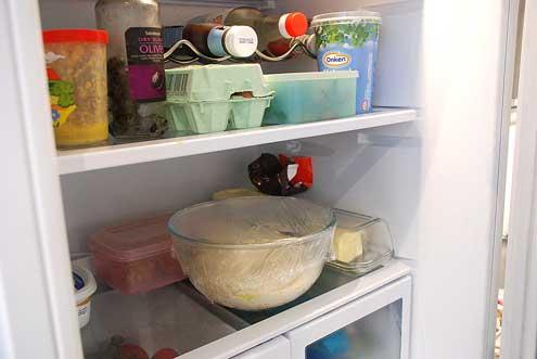 Cider vinegar muffin dough in the fridge