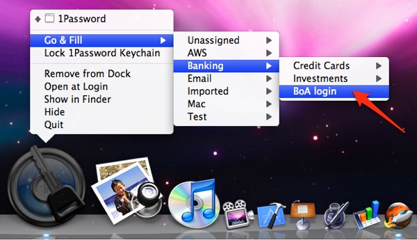 1Password Go&Fill Menu on Dock