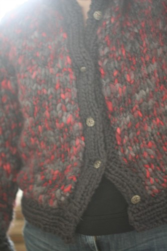 finished cardigan with buttons
