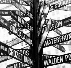 Across A Great Divide (Thomas Hawk) Tags: street blackandwhite bw usa signs oregon portland blackwhite waterfront fav50 10 unitedstatesofamerica guadalajara fav20 basin crater walden fav30 pioneersquare crozet fav10 fav25 fav40 fav60 mutar superfave