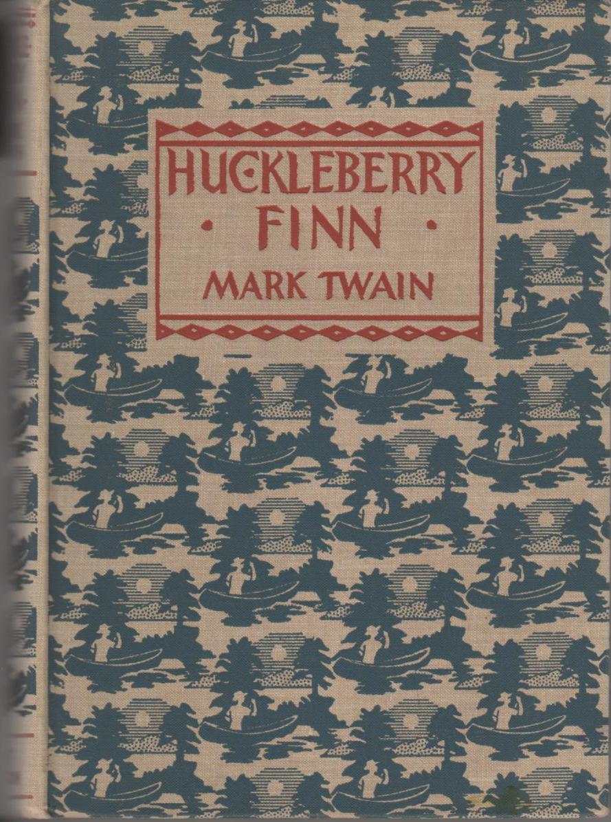 Adventures of Huckleberry Finn by Mark Twain, book cover.