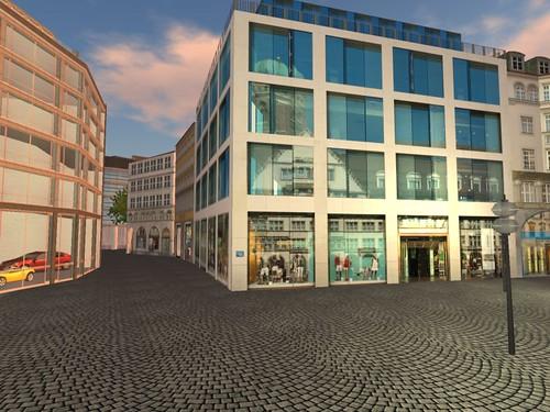 Frauenkirche spiegelt sich in der Fassade
