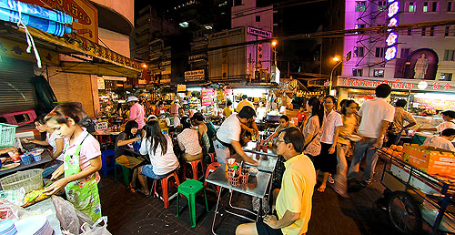 Hungry diners at Naay Uan, a stall in Bangkok's Chinatown