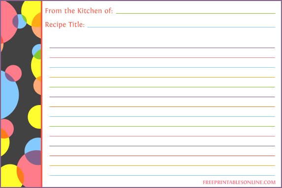 Recipe Cards Template 4 6 Recipe Card