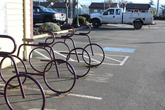bike rack in front of a bakery {sequim, washington} (aaronwatsonphotography) Tags: art sculpture metalworking washington sequim travel metal bikes bicycles