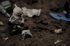 Aftermath (~J2J~) Tags: lego outdoors star wars clone mod trooper scene brickarms droid battle blown up broken helmet cracked
