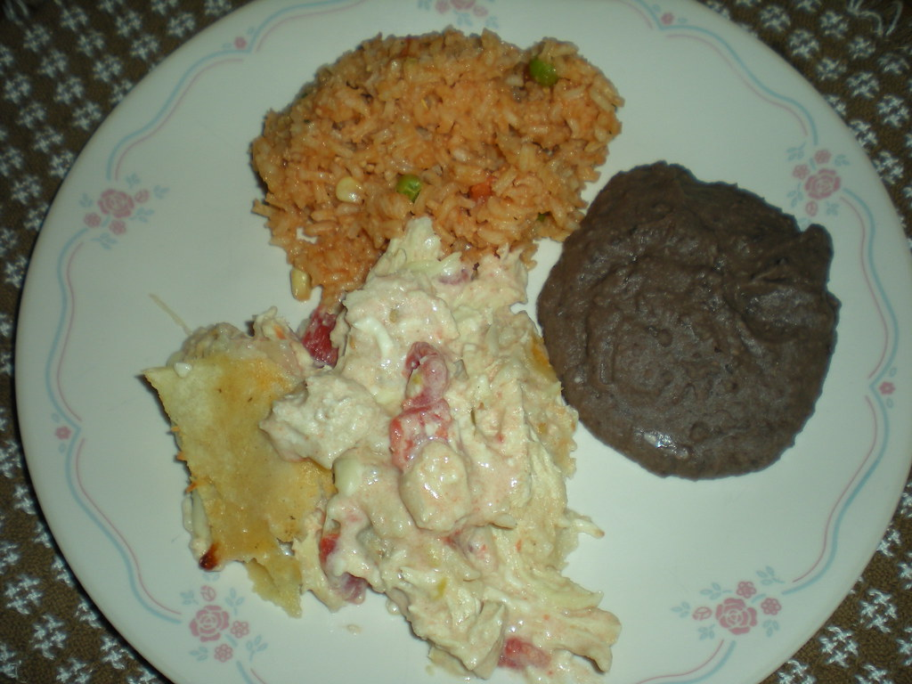 Different Chicken Enchiladas, Mexican Style Rice, Refried Beans