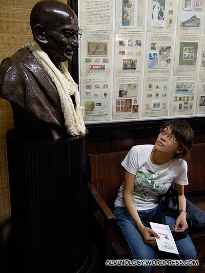 Rachel looking up to Ghandi