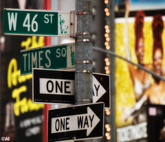 only one way? (muddii) Tags: road street new york city nyc ny schilder sign way square one nikon signage roadsign times 70300mm sq einbahnstrase strasenschild d300s
