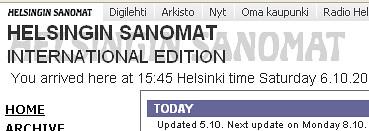 Portada del diario finlandés Helsingin Sanomat