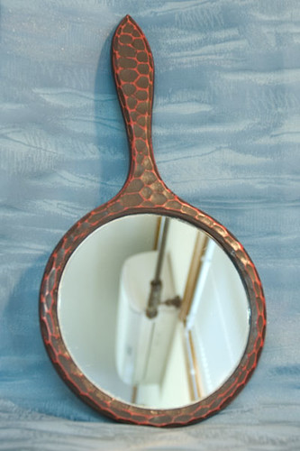 Vintage Japanese Hand Mirror Lacquered Wood Kagami