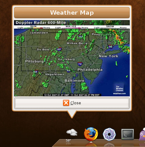 The Linux Movement Weather Radar On Weather Applet