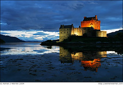 Loched in? (AdrianWarren) Tags: blue sunset orange castle 2004 night reflections landscape scotland scenic magichour eileandonan polaris ecosse lochalsh lochlong lochduich anawesomeshot theunforgettablepictures platinumheartaward 6ph tup2