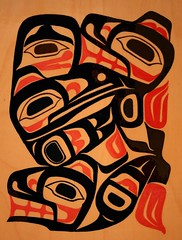 Weg-yet and the Raven Robe (Northwest haidaan) Tags: art bc northwest native robe indian 2006 raven woodpainting gitxsan somestuffido errolhillis wegyet