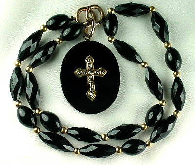 Exceptional Victorian Onyx Diamond Gold Mourning Necklace