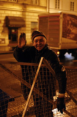 Greetings from Warsaw! (Michał Sacharewicz) Tags: poverty street old city winter people man cold metal truck work fence fun garbage alley hand homeless sigma poland warsaw greetings hobo greeting warszawa crates chillout nowyświat sigma30mmf14 nowyswiat