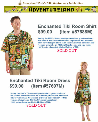 Disneyland Tiki Room Shirt and Dress Replicas