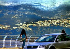 sea, mountains and snow! (Fadi Asmar ^AKA^ Piax) Tags: blue winter sea lebanon sun snow mountains girl car walking warm corniche beirut liban mountlebanon piax abigfave diamondclassphotographer