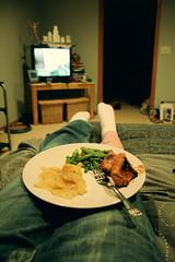 TV dinner[Day42]* (Chapendra) Tags: selfportrait vegetables socks tattoo dinner vintage tv potatoes bed bedroom sock legs grain plate fork pork year2 yeartwo grainy veggie tvdinner gams 365days