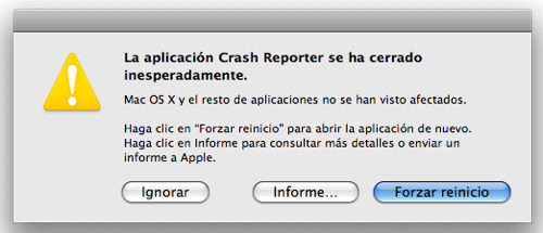 Pantalla de Crash Report crasheado