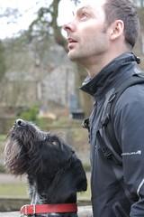 Chris & Gefri - Pointing??? (TallGuyTosh.) Tags: bridge chris pointer derbyshire wirehaired german bakewell munsterlander gefri abbotsbourne