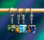 Handmade Stitch Markers - Square Millefleur